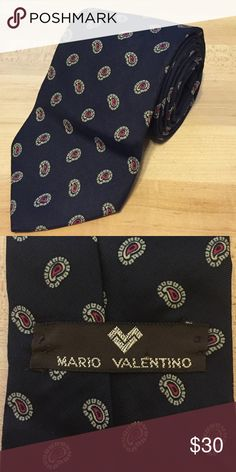 Vintage Valentino Men's Tie 100% Italian silk, vintage Mario Valentino, navy blue with red paisley Valentino Accessories Scarves & Wraps
