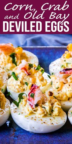 Corn, crab, and Old Bay are the taste of summer. Put them together in these easy deviled eggs, and you've got your next favorite recipe for a picnic or barbecue! Deviled Eggs With Relish, Fried Deviled Eggs, Guacamole Deviled Eggs, Bacon Deviled Eggs, Deviled Eggs Recipe, Scrambled Eggs, Honey Recipes, Simply Recipes, Bacon Recipes