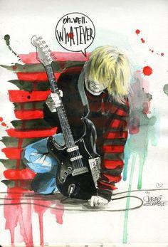 Kurt Cobain - Nirvana - by Lora Zombie Zombie Kunst, Arte Zombie, Zombie Art, Kurt Cobain Art, Nirvana Kurt Cobain, Arte Grunge, Grunge Art, Picasso, Nirvana Band