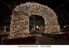 Entrance To Town Square In Jackson Hole Wyoming. Winter Display ...