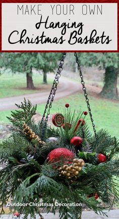 New Outdoor Christmas Decor Trends 2019 Christmas Hanging Baskets, Outside Christmas Decorations, Christmas Planters, Christmas Porch, Christmas Design, Winter Christmas, Christmas 2019, Christmas Lights, Christmas Wreaths