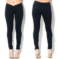 -+V+-+Waistline -+Black+Skinny+Pants+ -+Legging+Style+ -+Fits+True+To+Size -+74%+Rayon+22%+Nylon+4%+Spandex