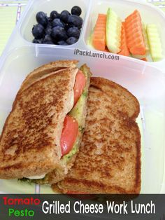 Tomato pesto grilled cheese work lunch | packed in @EasyLunchboxes containers