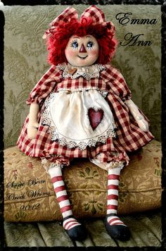Primitive Raggedy Ann doll Annie OFG Team by Jody of SweetBearCreekWhims on Etsy