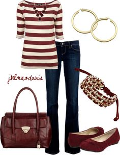 """Burgundy & Gold"" by jklmnodavis on Polyvore"