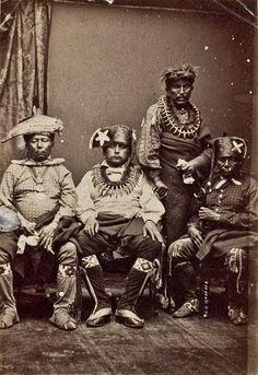 L-R: Unidentified, Moses Keokuk, Shawpawcawcaugh, unidentified - Sac & Fox - 1868