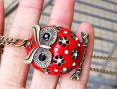 vintage cute red big crystal belly solid owl Necklace,with a tree #Halloween #owl #jewelry www.loveitsomuch.com