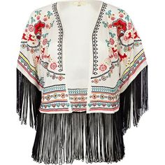 River Island Cream Print Fringe Cover Up found on Polyvore