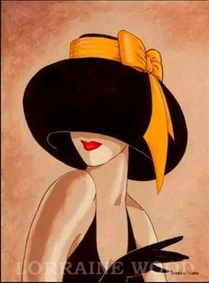 """Flirty Brown Hat with Yellow Ribbon"" by Lorraine Dell Wood."