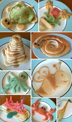 "... ""brinners"" when I made pancake critters when my kids were little. I made some cats and dogs, and other cute things, but never thought of these!"