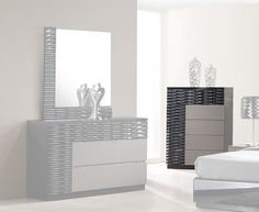 Roma Black and Grey Lacquer Chest by J&M