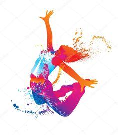 La bailarina con manchas coloridas y salpicaduras en blanco backg — Ilustración de stock #8955060
