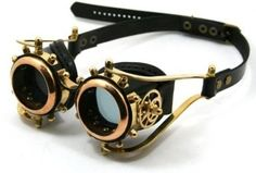 Of course, a pair of Steampunk goggles to finish off my look! [[STEAMPUNK GOGGLES made of solid brass tan and dark brown leather gears decor Assault design Moda Steampunk, Style Steampunk, Steampunk Design, Victorian Steampunk, Steampunk Diy, Steampunk Clothing, Steampunk Fashion, Steampunk Nails, Steampunk Emporium