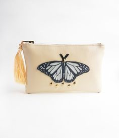 This item is unavailable Butterfly Makeup, Deer Makeup, Wedding Day Makeup, Makeup Pouch, Leather Pouch, Clutches, My Etsy Shop, Metal, Check