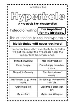 Hyperbole Mini Anchor Chart - Use these mini anchor charts in your student's reading and writing journals to help them understand and use figurative language.