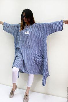 """Купить Платье в стиле бохо из льна""""Море и я"""" - в полоску, море, морская тема, сине-белый"""