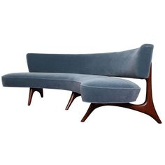 Rare Curved Sofa by Vladimir Kagan ❤ liked on Polyvore featuring home, furniture, sofas, light blue sofa and light blue couch
