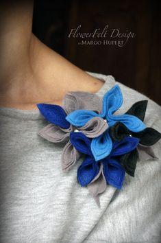 blue gray felt brooch tangerine brooch autumn brooch felted woman birthday wedding Brooch felt flowers , pin , made by a visual artist from…