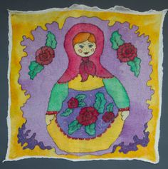 Wool home decor, matryoshka doll, Felted art fabric, batik for Craft, handpainted silk, SJR, Craft Supplies, nuno felted fabric