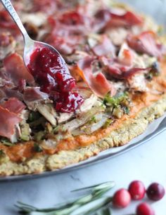 Use up your leftover turkey and cranberry sauce in this delicious Turkey Cranberry Prosciutto Pizza recipe, made AIP and Paleo with an easy plantain crust! Pizza Recipes, Paleo Recipes, Paleo Pizza, Tart Recipes, Drink Recipes, Prosciutto Pizza, Toast, Thanksgiving Leftovers, Thanksgiving Recipes