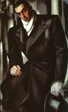 Tamara de Lempicka, Portrait of Man in Overcoat (Portrait of Tadeusz De Lempicki) - 1928