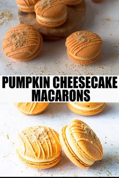 Pumpkin Cheesecake Macarons (plus video) - Pies and Tacos Köstliche Desserts, Delicious Desserts, Dessert Recipes, Yummy Food, Health Desserts, French Macaroon Recipes, French Macaroons, Lemon Macaroons, Macaron Cookies