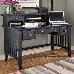 Found it at Wayfair - Executive Writing Desk and Hutch in Black Computer Table Price, Computer Desk Setup, Buy Computer, Wooden Street, Chair Price, Table Dimensions, Home Office Desks, Writing Desk, Table Desk