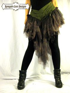 Dancing, edgy, skirt, long tutu, shreddy, dark lavander and gray: Zombie couture by Renegade Icon Designs on Etsy, $135.00