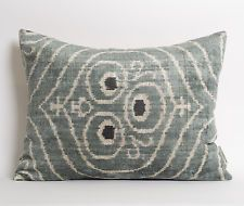 Silk Velvet Ikat Pillowcase Grey Ikat Pillow Modern Home Decor Sofa Gray Pillows