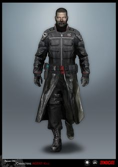 Cyberpunk. Cyborg, Future Warrior, Man in Black, SYNDICATE concept - character Agent by *torvenius on deviantART