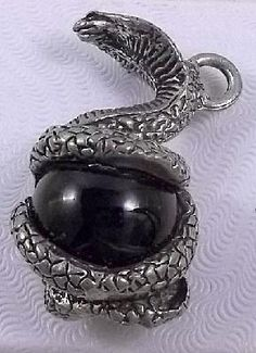 Pewter Cobra Pendant with Black Crystal Free Shipping