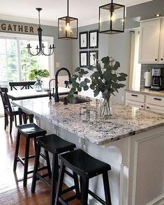 Supreme Kitchen Remodeling Choosing Your New Kitchen Countertops Ideas. Mind Blowing Kitchen Remodeling Choosing Your New Kitchen Countertops Ideas. White Kitchen Cabinets, Kitchen Redo, Kitchen Countertops, Kitchen Cabinetry, Kitchen White, Kitchen Sinks, Kitchen Islands, Kitchen Paint, Laminate Countertops