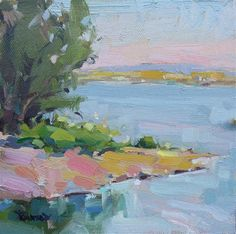 """Sunset on the Columbia River - plein air"" - Original Fine Art for Sale - © Cathleen Rehfeld"