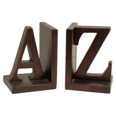 2 Piece A to Z Bookend Set