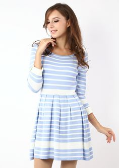 Navy Pastel Blue Striped Dress - Retro, Indie and Unique Fashion.  This would be a really cute Easter dress!