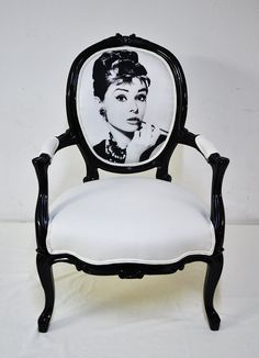 Audrey Hepburn chair!  Love this! I saw one of these on Etsy the other day and it wasnt executed this well.