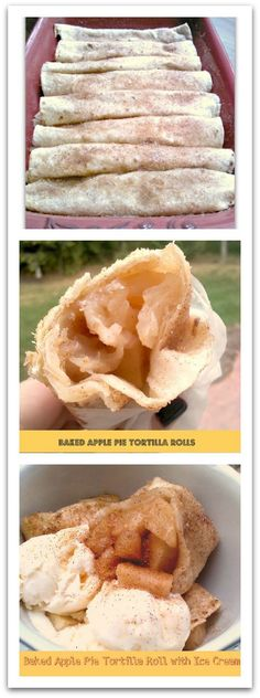 Baked Apple Pie Tortilla Rolls - So simple to make!  Use pie filling from scratch or canned!