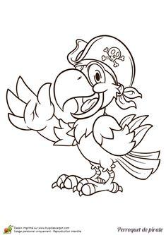 Coloriage d'un gentil petit perroquet de pirate