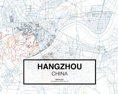 Hangzhou - China. Download CAD Map city in dwg ready to use in Autocad. www.mapacad.com Hangzhou, Autocad, City Maps, Master Plan, Pop Art, Arch, Traveling, Photoshop, China
