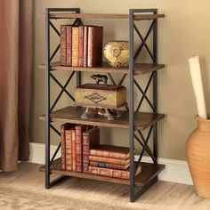 Furniture of America Collins Industrial Medium Weathered Oak 4-tier Display…