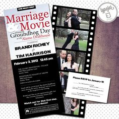 Printable Movie Theater Wedding Invitation with Photo Collage (3.5 x 8.5 inch Digital File, Printing Available)