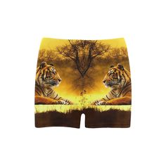 Tiger and Sunset Skinny Shorts. FREE Shipping. FREE Returns. #shorts #tigers