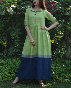 Green Indigo Grey Color Block Gathered Maxi Dress
