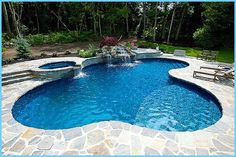 Inground Pool Kits with Tanning Ledges. Vinyl pools can have baja shelfs or tanning ledges, sure! They are part of the pool super-structure and can retrofit to existing pools. Inground Pool Designs, Vinyl Pools Inground, Small Inground Pool, Swimming Pool Designs, Swimming Pools, Small Pools, Backyard Pool Landscaping, Backyard Pool Designs, Backyard Ideas