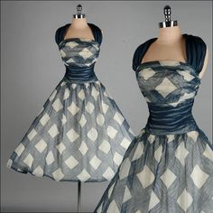 Vintage 1950s Dress . Blue . Ivory . Organza . Halter . Full Skirt . S/M . 2061