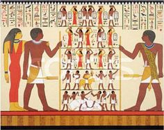 Frontalism in Ancient Egyptian wall art.