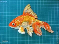 Picture, pictures, graphic, Workshop Quilling: Goldfish.  Paper Paper strip.  Photo 12