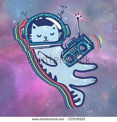 Find Cat Space Astronaut Flying Space Listen stock images in HD and millions of other royalty-free stock photos, illustrations and vectors in the Shutterstock collection. Space Cat, Art Et Illustration, Illustrations, Wallpaper Gatos, Cute Cartoon Wallpapers, Kids Prints, Cat Drawing, Cat Art, Images