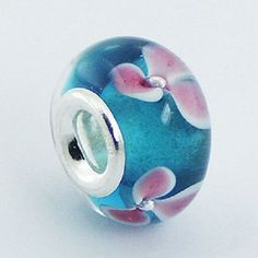 Murano Glass Bead Adorable 14mm high sterling silver core for charm bracelet
