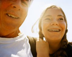Father/grandfather with daughter - copy: something about a bright future